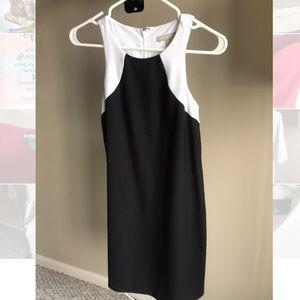 Banana Republic black and white colorblock dress